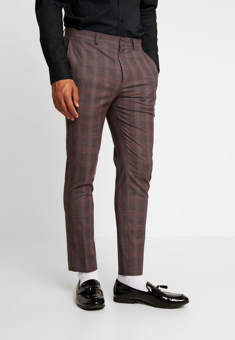 Burton Menswear London - MAUVE POW CHECK - Suit trousers - burgundy