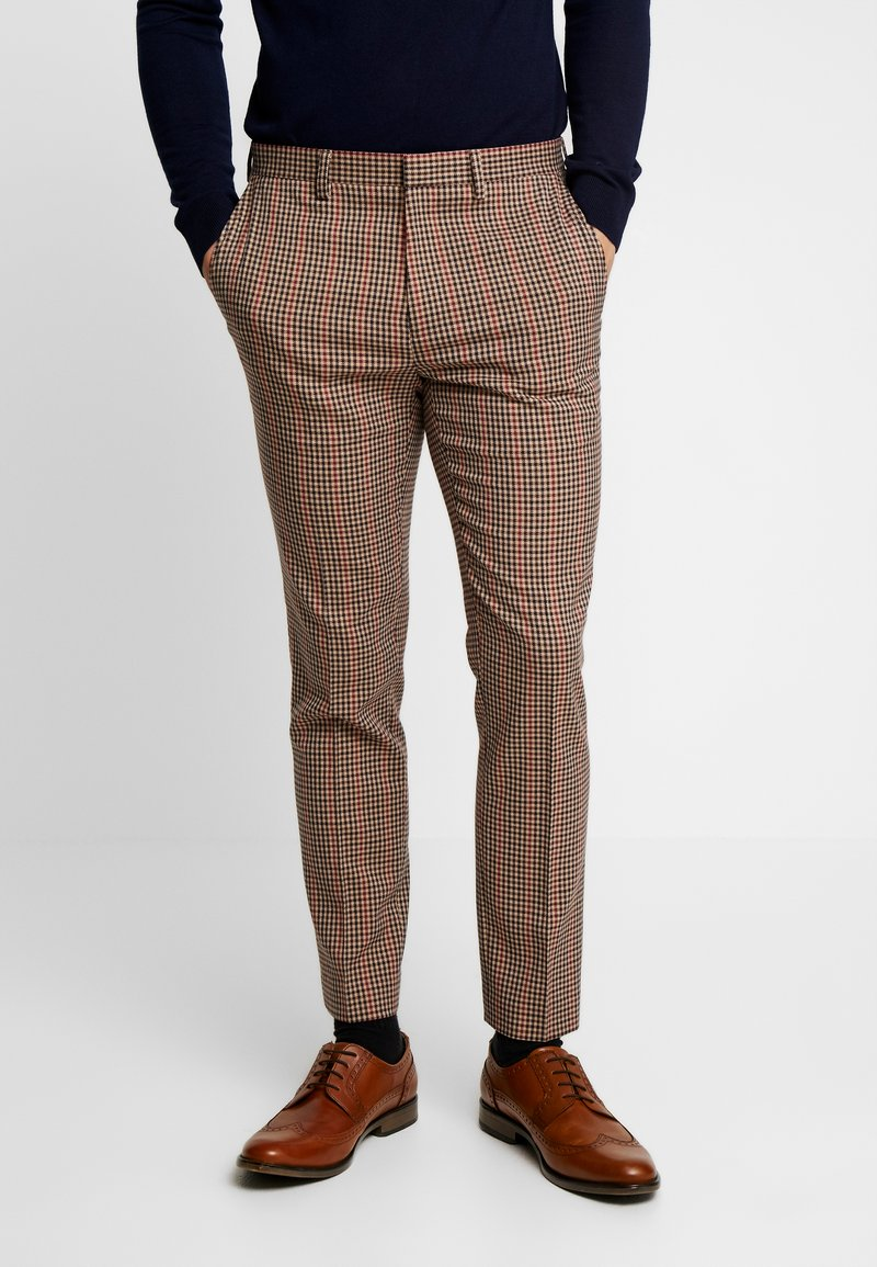 Burton Menswear London - HOUSE CHECK TROUSERS - Suit trousers - brown