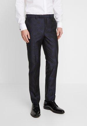 FLORAL JACQUARD - Suit trousers - black