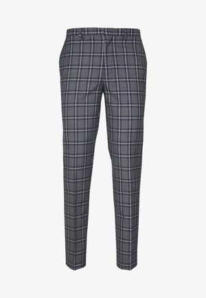 GREY NAVY TARTAN TROUSERS - Suit trousers - grey