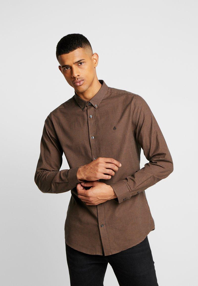 Burton Menswear London - RUST MINI GINGHAM SLIM FIT - Shirt - orange