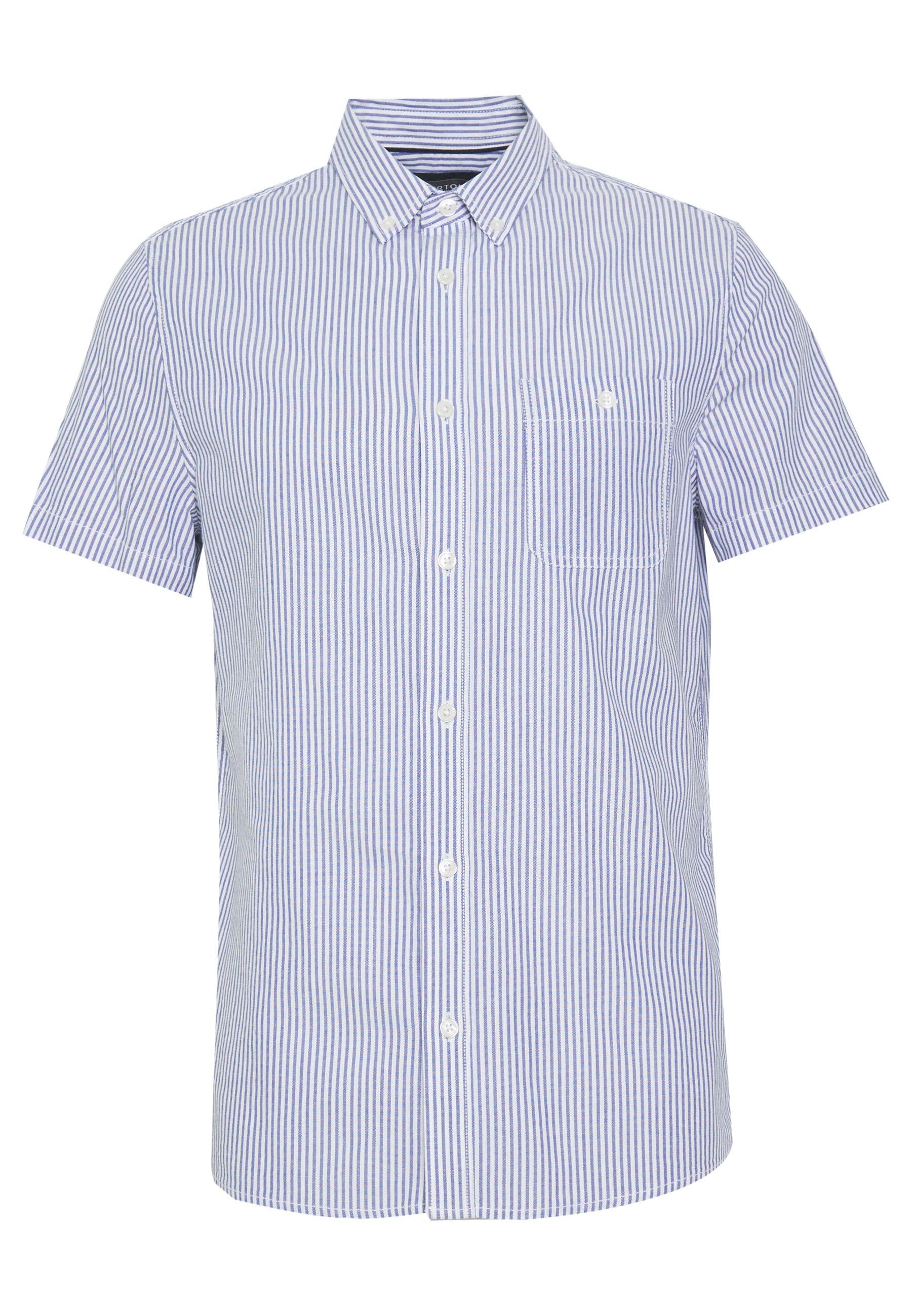 Burton Menswear London SHORT SLEEVE OXFORD STRIPE - Koszula - blue