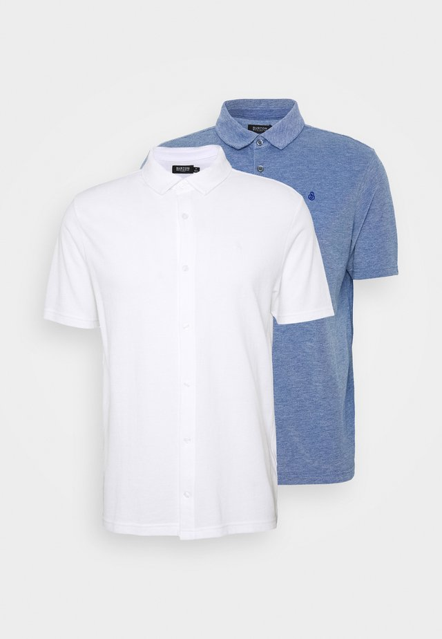2 PACK  - Poloshirt - white/blue