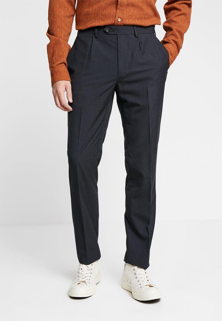 Burton Menswear London - MINI GRID TEXTURE - Stoffhose - navy