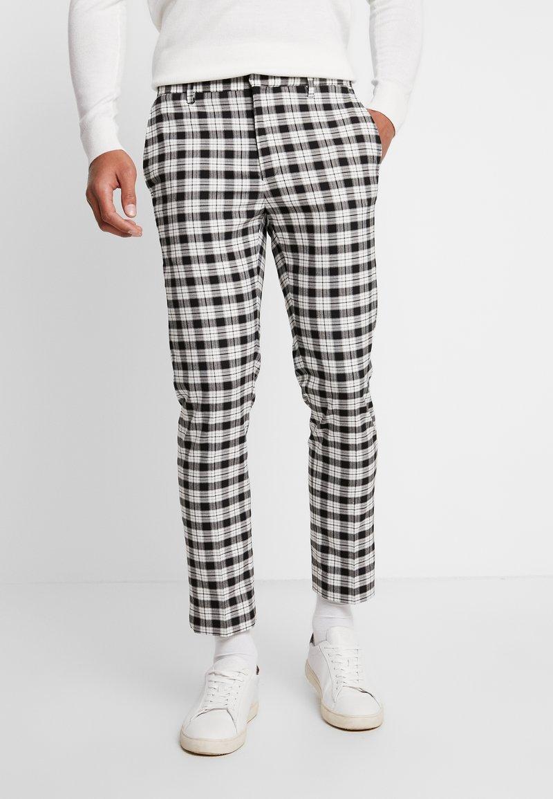 Burton Menswear London - TARTAN MONOCHROME CHECK - Kangashousut - black