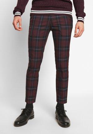 BOLD TARTAN - Spodnie materiałowe - burg