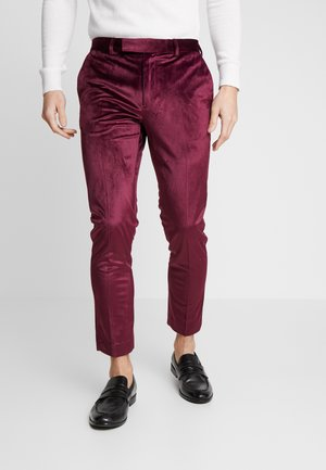 VELVET PARTY - Bukse - burgundy