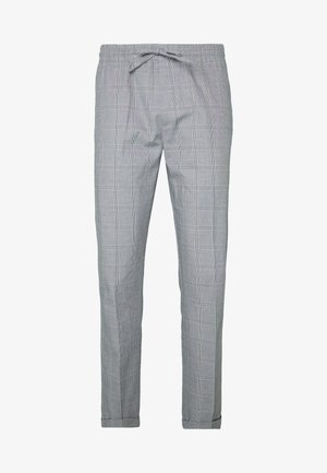SLIM CHECK FRONT PLEAT ELASTICATED - Trousers - grey