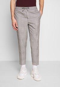 Burton Menswear London - TAPERED POW CHECK ELASTICATED - Trousers - grey - 0