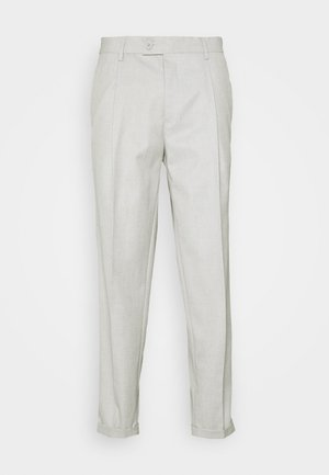TAPERED LINEN MIX SMART TROUSER WITH FRONT PLEAT - Trousers - neutral