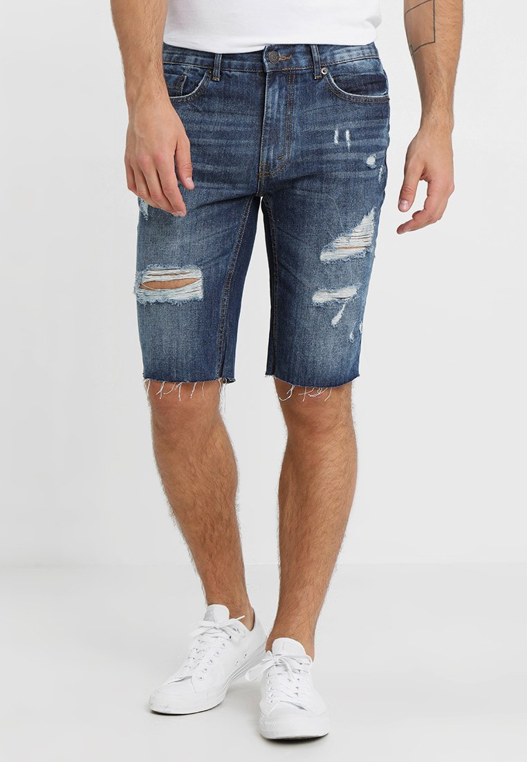 Burton Menswear London - Jeans Shorts - mid blue