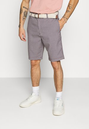 BELTED MINI CHECK - Shorts - navy