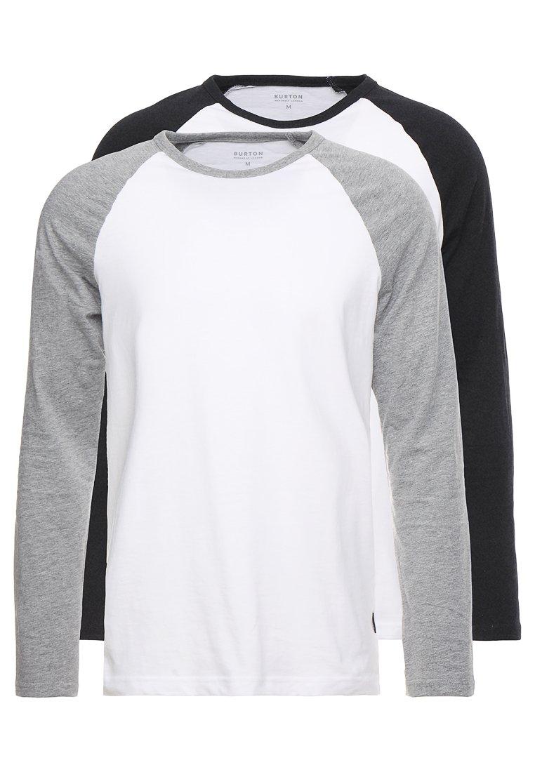 Burton Menswear London - RAGLAN BASIC 2 PACK  - Long sleeved top - grey/black