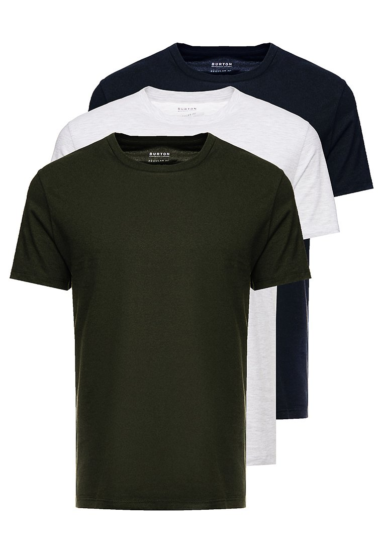Burton Menswear London - BASIC CREW 3 PACK MULTIPACK - T-shirt basique - khaki/frost/navy