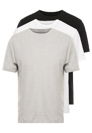 BASIC CREW 3 PACK MULTIPACK - T-shirt basic - black/grey/white