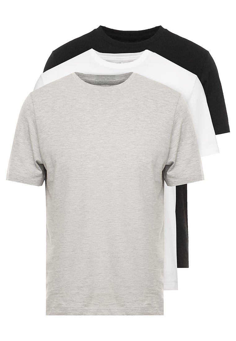 Burton Menswear London - BASIC CREW 3 PACK MULTIPACK - Jednoduché triko - black/grey/white