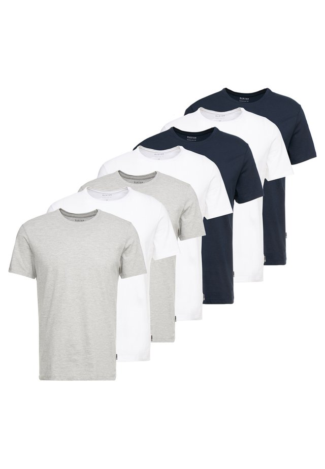 BASIC CREW 7 PACK - T-shirts - white/grey/navy