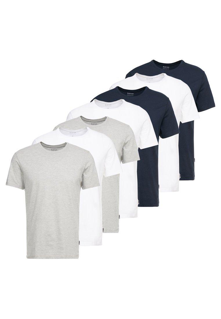 Burton Menswear London - BASIC CREW 7 PACK - Jednoduché triko - white/grey/navy