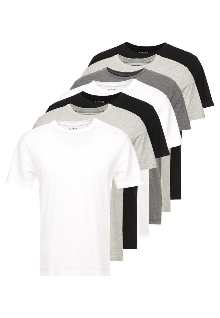Burton Menswear London - BASIC CREW 7 PACK - T-shirt basic - black/white/grey