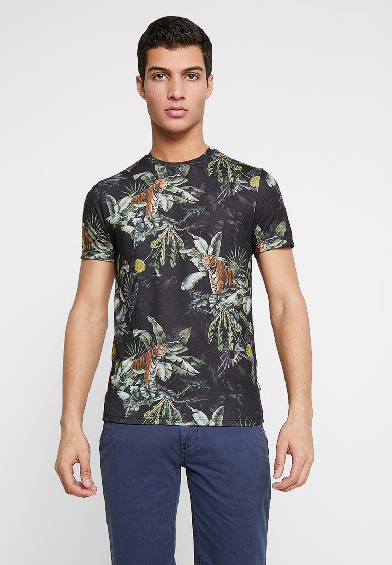 Burton Menswear London - TIGER FLORAL - T-Shirt print - black
