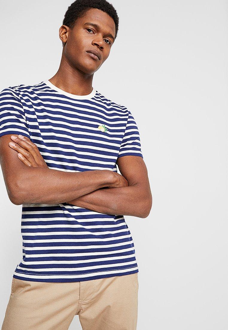 Burton Menswear London - EMBROIDERY STRIPE LEMON - T-Shirt print - navy