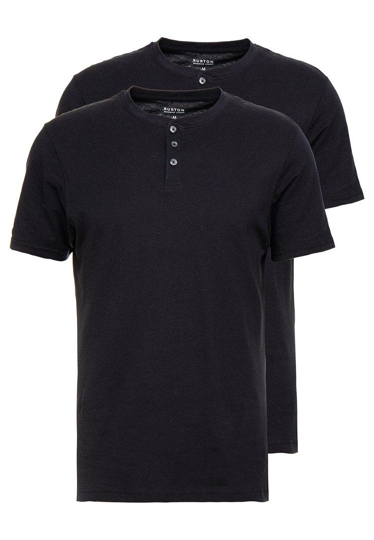 Burton Menswear London - GRANDAD 2 PACK - Basic T-shirt - black