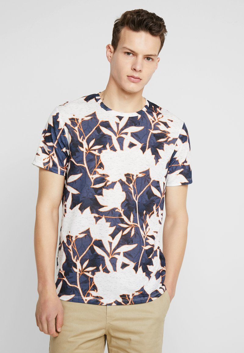 Burton Menswear London - KNOCKOUT MELANGE FLORAL TEE - T-shirts med print - blue/white