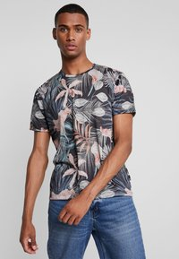 Burton Menswear London - TROP FLORA - T-shirt med print - navy - 0