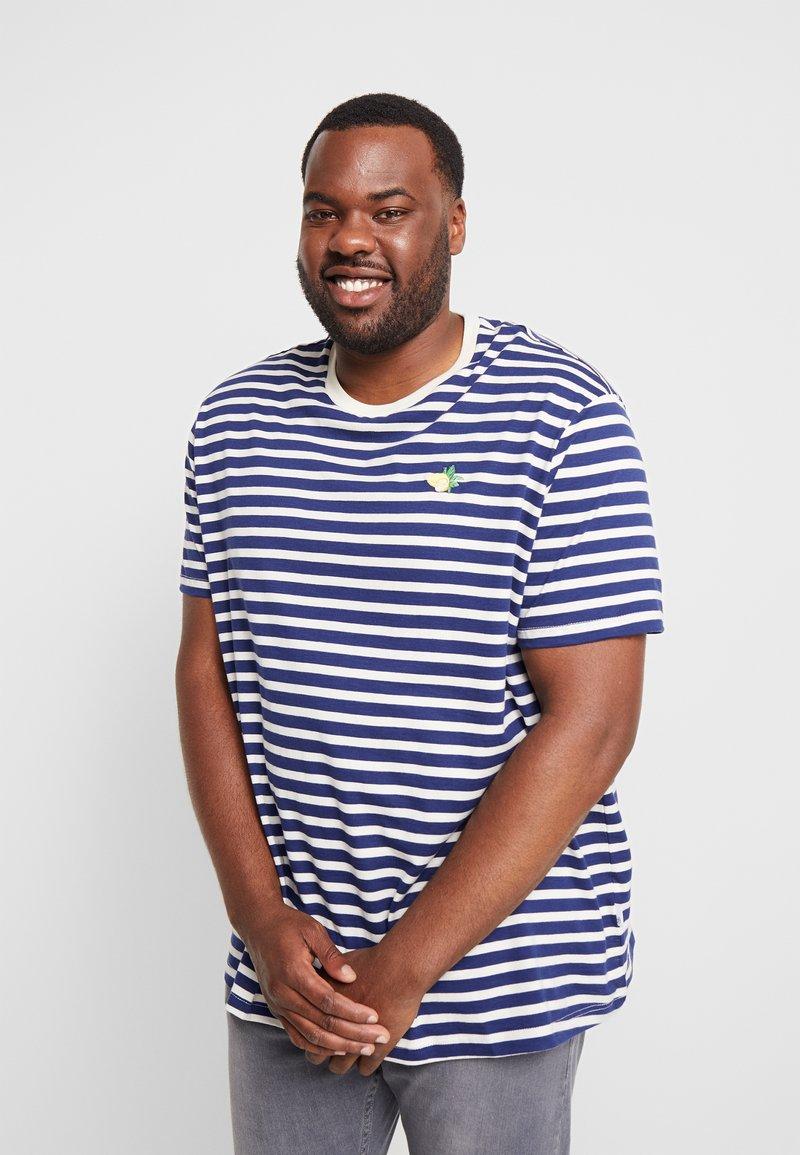 Burton Menswear London - EMBROIDERY STRIPE LEMON - T-shirt con stampa - navy