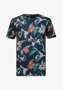 Burton Menswear London - ZIG ZAG PRINTED FLORAL ALL OVER - T-shirt print - navy - 3