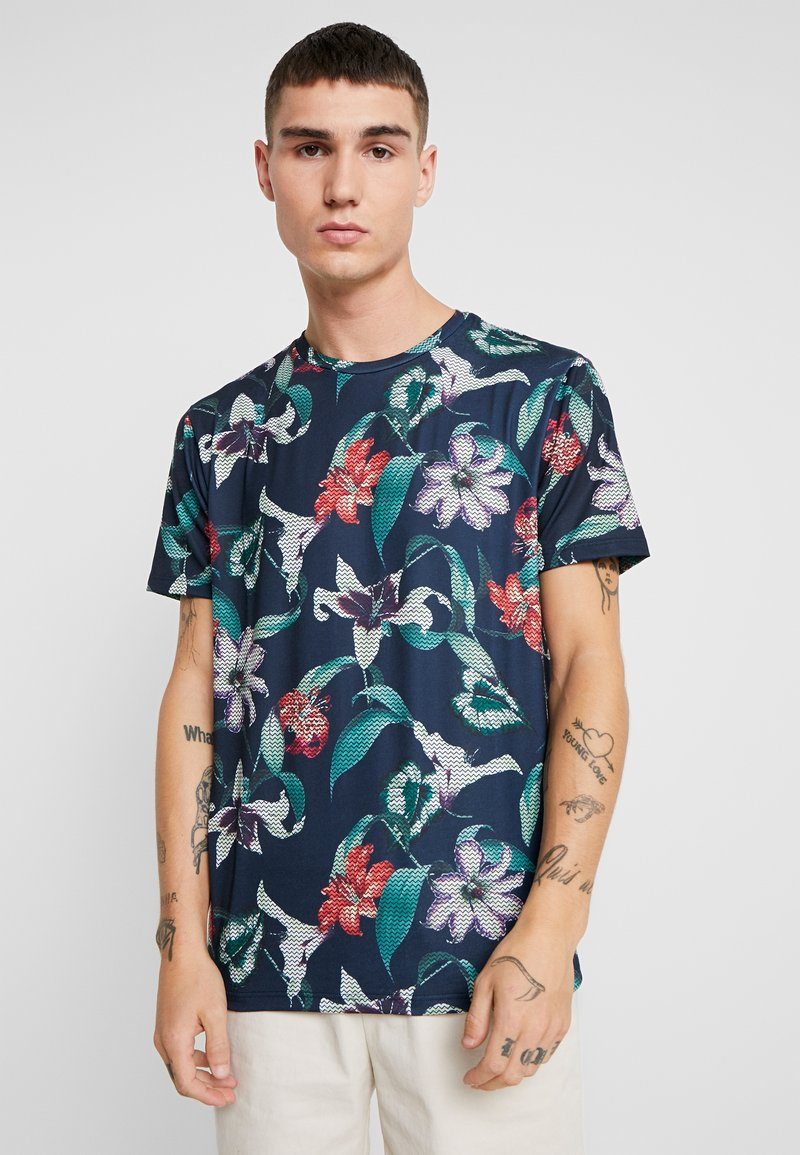 Burton Menswear London - ZIG ZAG PRINTED FLORAL ALL OVER - T-shirt print - navy