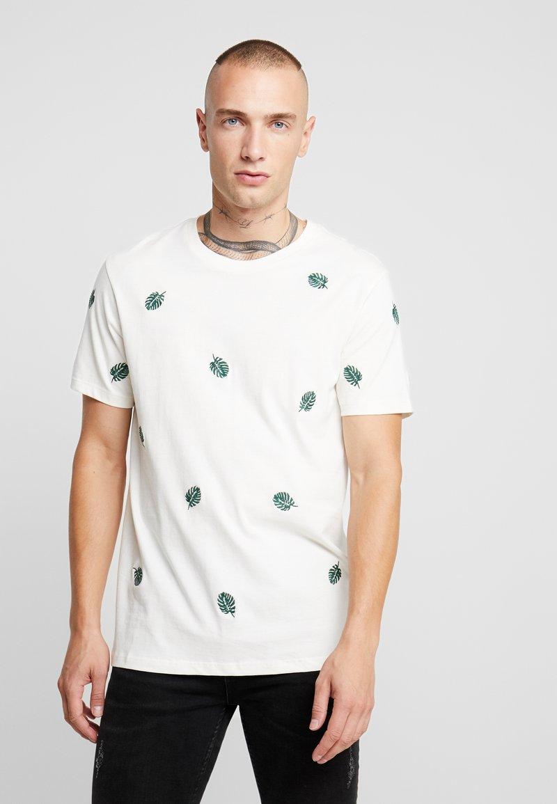 Burton Menswear London - ALL OVER LEAF  - T-Shirt print - ecru