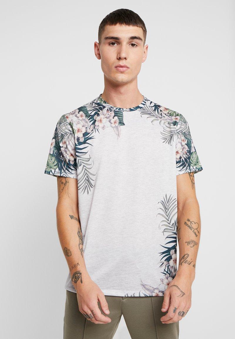 Burton Menswear London - FLORAL PLACEMENT - T-Shirt print - frost