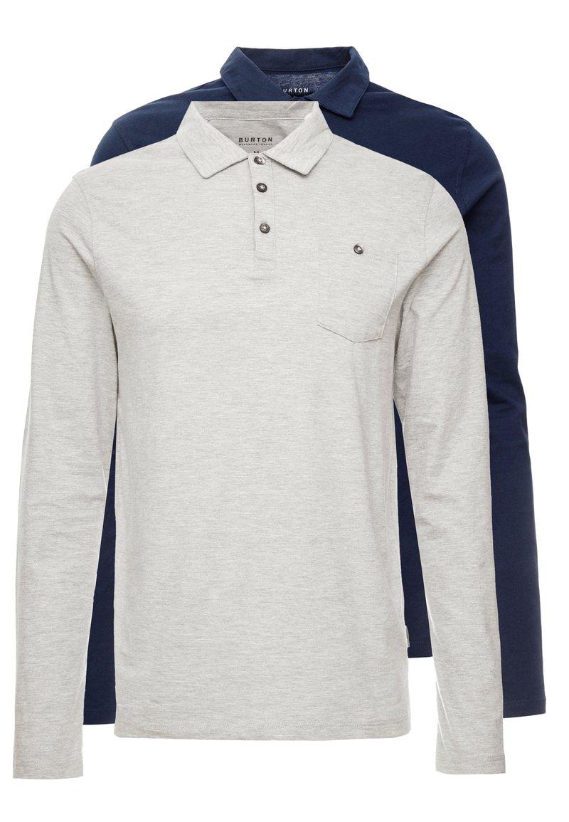 Burton Menswear London - BASIC 2 PACK - Long sleeved top - grey melange/dark blue