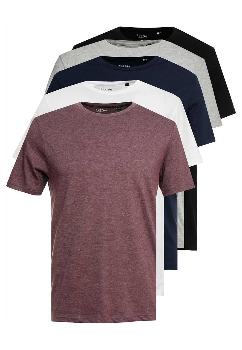 Burton Menswear London - MULTIPACK TEE 5 PACK - Jednoduché triko - mixed