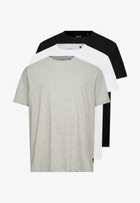 Burton Menswear London - B&T BASIC CREW 3 PACK  - T-shirt basic - black/white/grey - 4