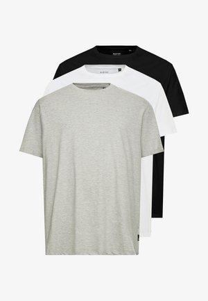 B&T BASIC CREW 3 PACK  - T-paita - black/white/grey