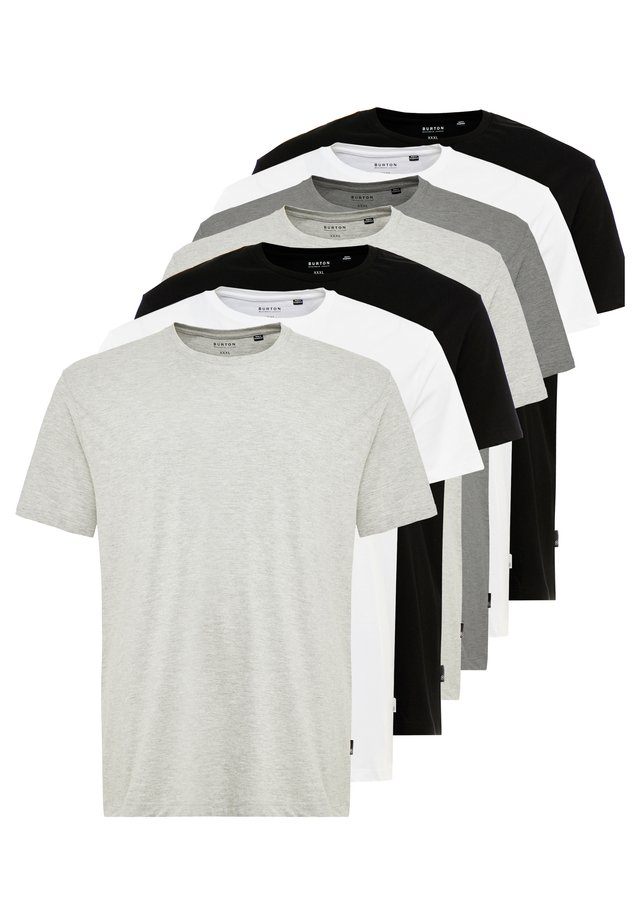 BASIC TEE 7 PACK - Jednoduché triko - grey/black/white