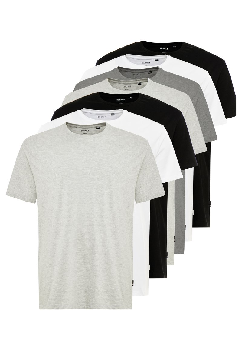Burton Menswear London - BASIC TEE 7 PACK - T-Shirt basic - grey/black/white