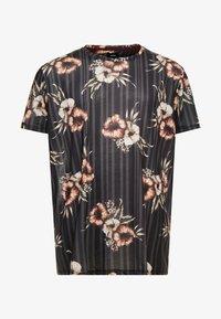 Burton Menswear London - FLORAL STRIPE - T-shirts med print - black - 3