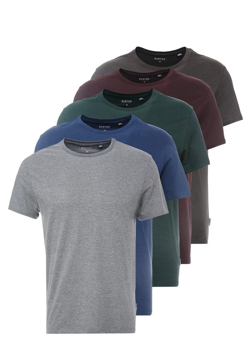 Burton Menswear London - BASIC CREW 5PACK - T-shirt - bas - charcoal marl/scarab/rich blue/burgundy