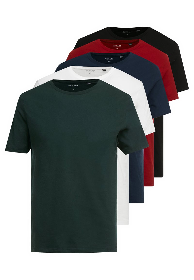 Burton Menswear London - BASIC CREW 5 PACK - T-shirt - bas - white
