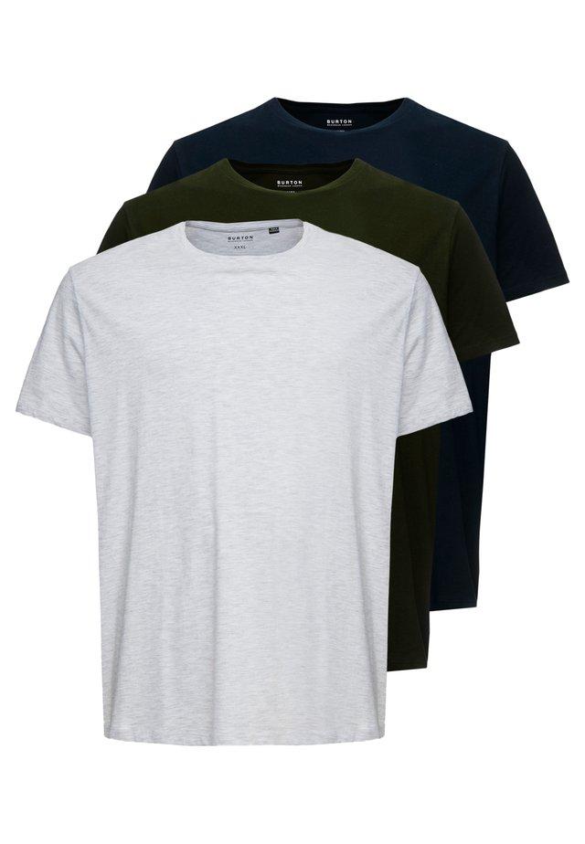 3 PACK - T-Shirt basic - grey/olive/black