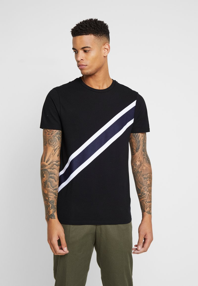 Burton Menswear London - TAPE DIAGO - Printtipaita - black