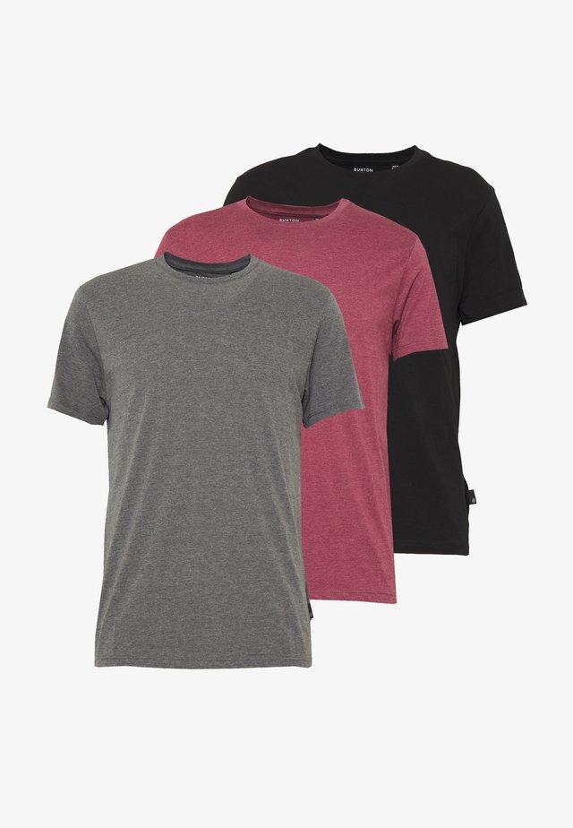 3PACK - T-Shirt basic - black/charcoal/burgundy
