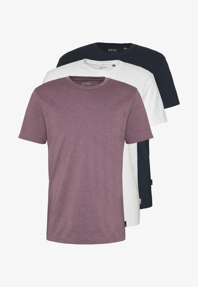 3 PACK - T-shirt basic - purple/black/white