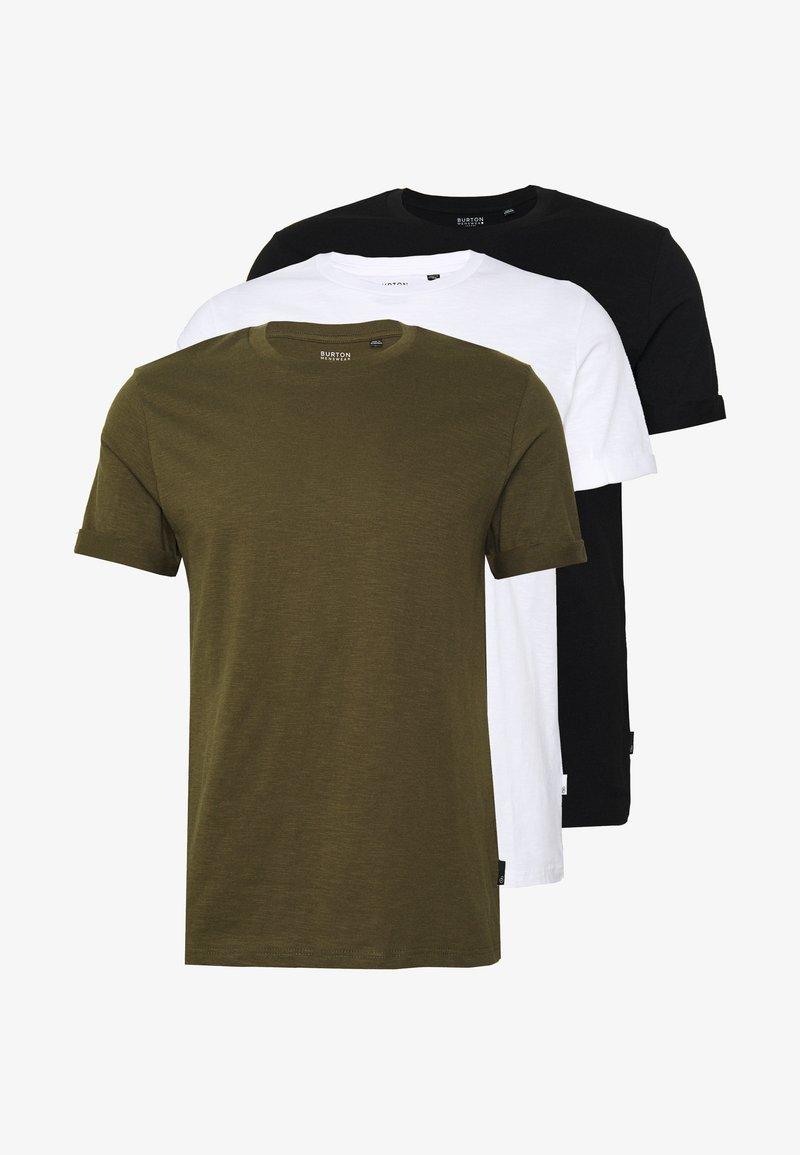 Burton Menswear London - 3 PACK - Jednoduché triko - khaki