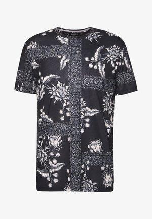 BANDANA FLORAL PLACEMENT  - T-shirt con stampa - black