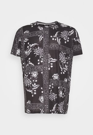 BANDANA FLORAL PLACEMENT TEE - Printtipaita - black