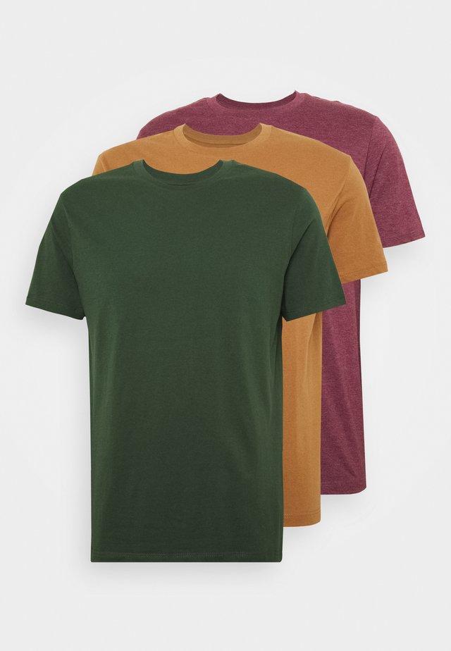 3 PACK - T-shirt basic - burgundy/green/tobacco